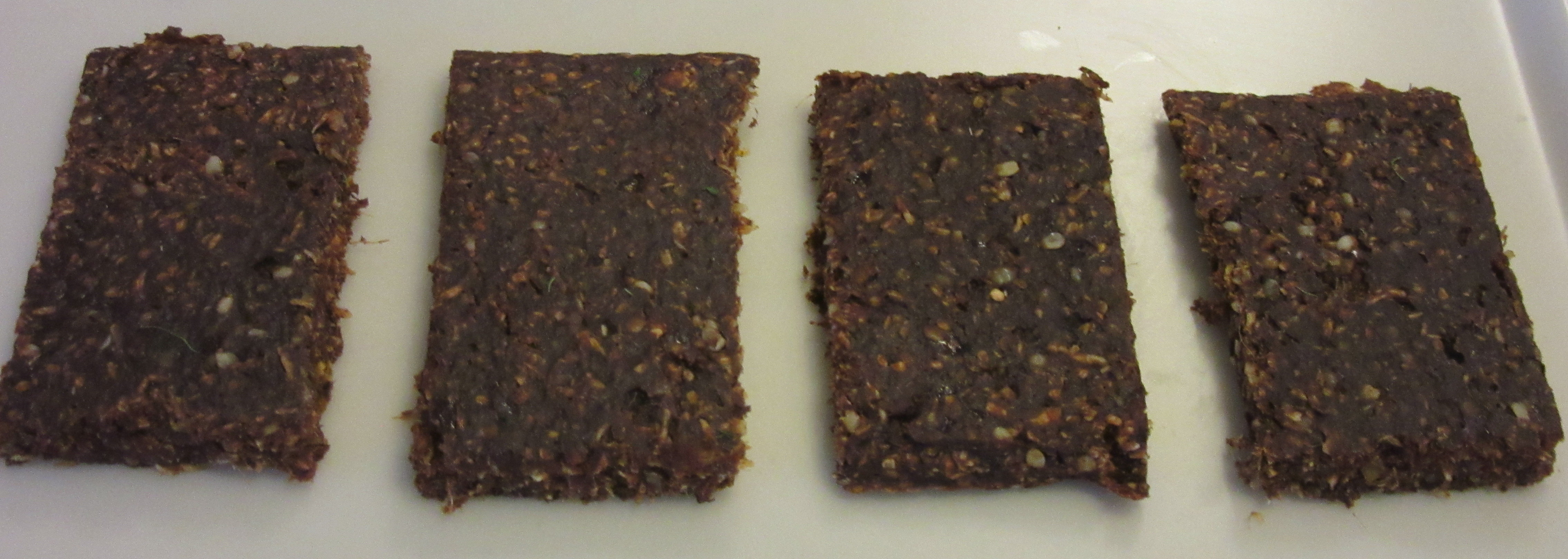 Dehydrated bars in a tray.