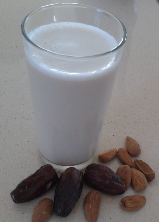 Almond glass of milk and dates