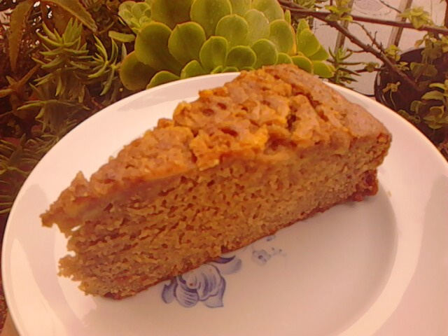 Slice of sweet potato cake, teff and pear