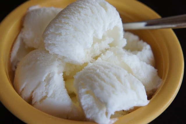 Glass of cream and coconut ice cream