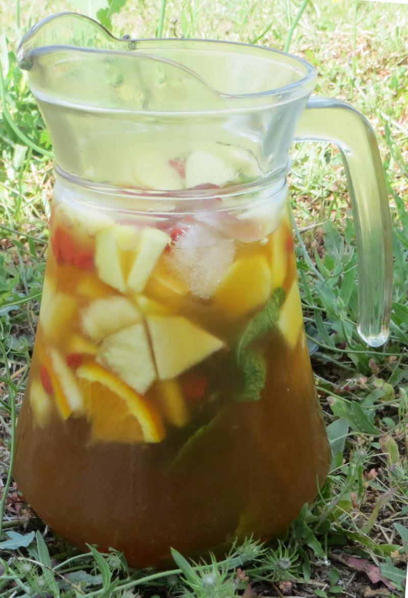 Jug of sangria in the garden