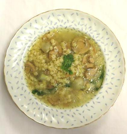 Plate with chia and mushroom broth