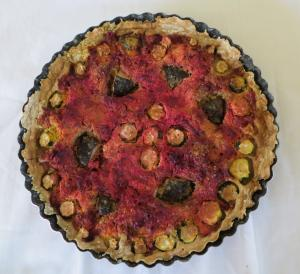 Tofu and beets quiche