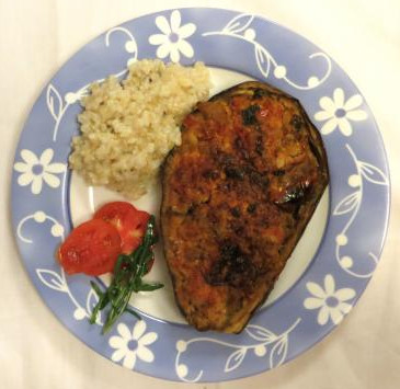 Dish with Stuffed Aubergine with okara, brown rice and salad
