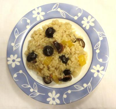 Plate with shiitake risotto